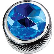 1 BOUTON DOME CHROME TOP BLUE CRYSTAL 6.35mm